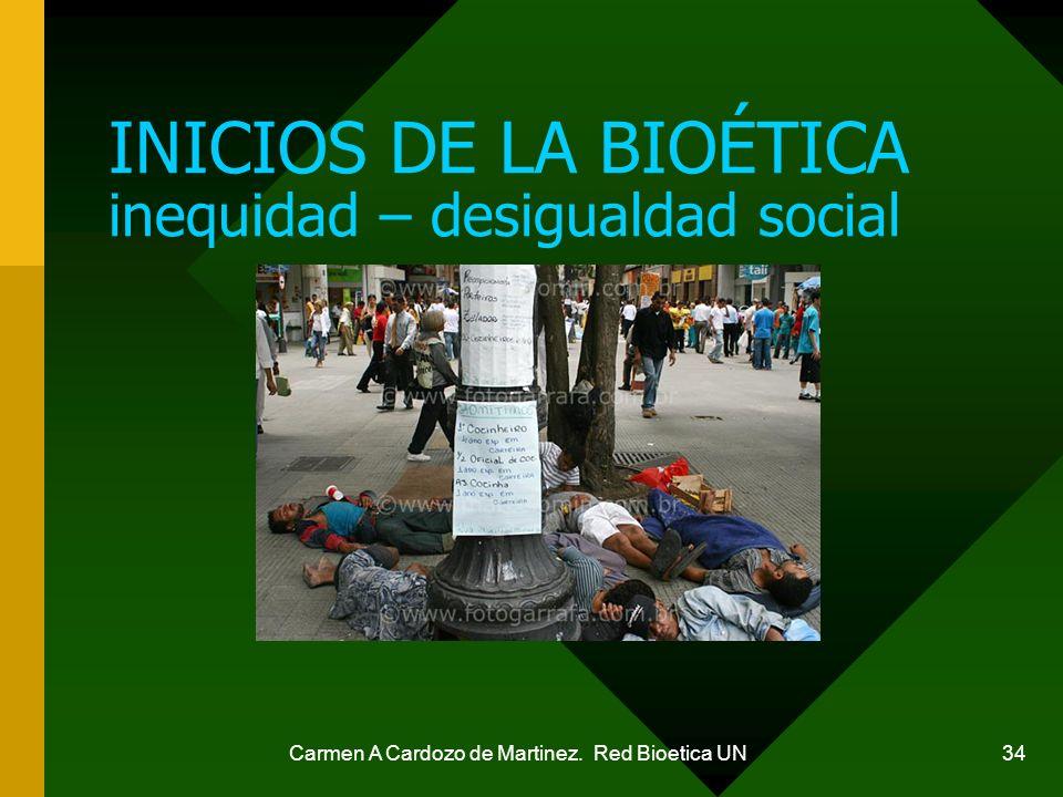 INICIOS DE LA BIOÉTICA inequidad – desigualdad social