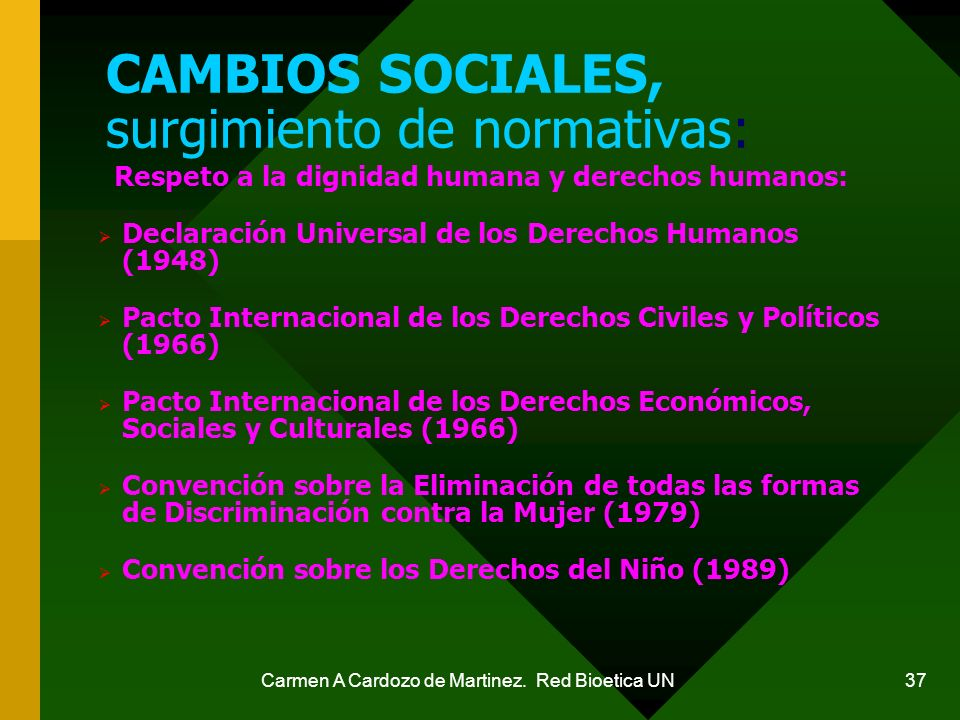 CAMBIOS SOCIALES, surgimiento de normativas: