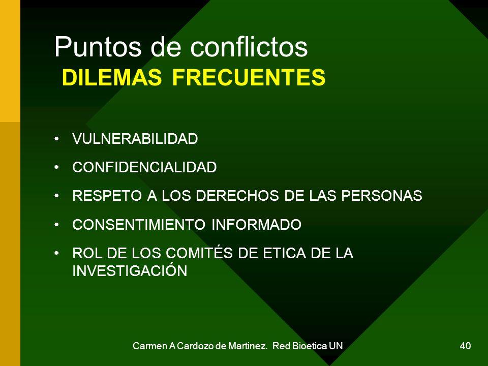 Puntos de conflictos DILEMAS FRECUENTES