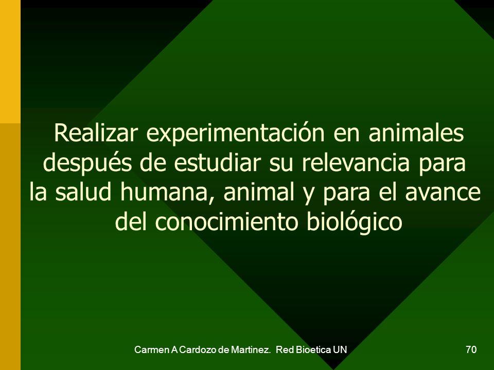 Realizar experimentación en animales después de estudiar su relevancia para