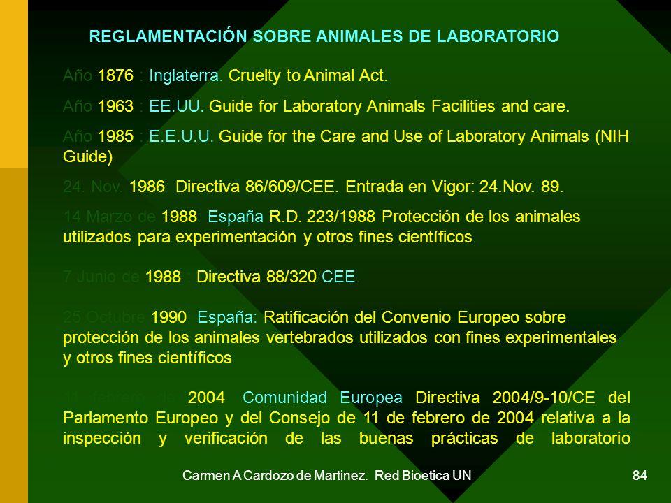 REGLAMENTACIÓN SOBRE ANIMALES DE LABORATORIO