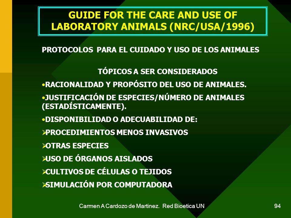GUIDE FOR THE CARE AND USE OF LABORATORY ANIMALS (NRC/USA/1996)