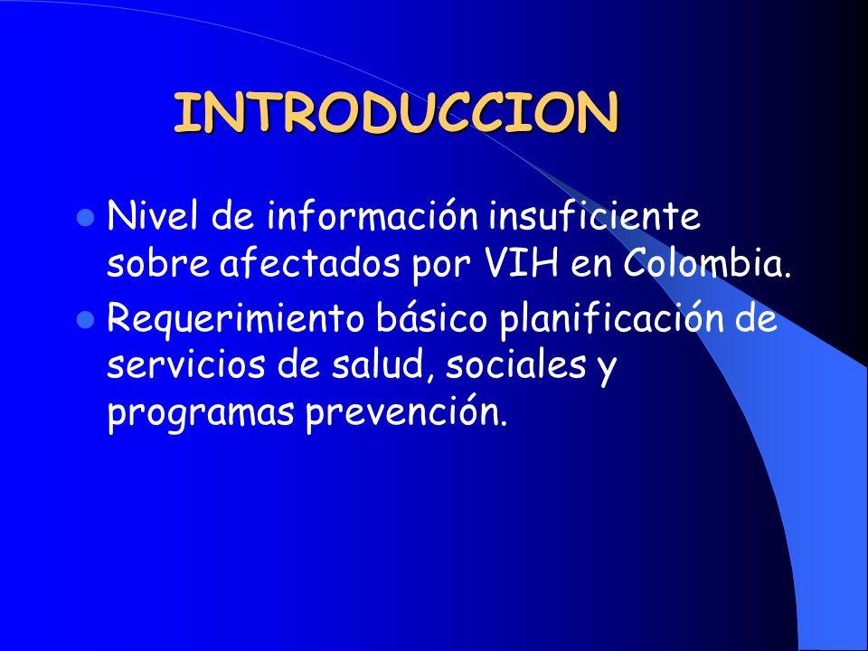 INTRODUCCION Nivel de información insuficiente sobre afectados por VIH en Colombia.