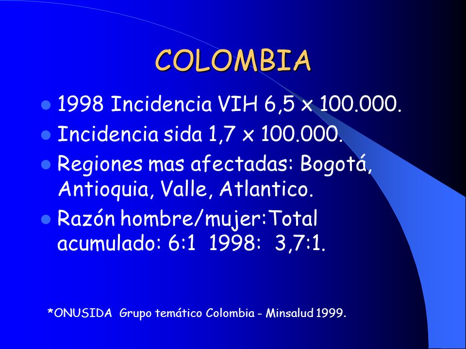 COLOMBIA 1998 Incidencia VIH 6,5 x 100.000.