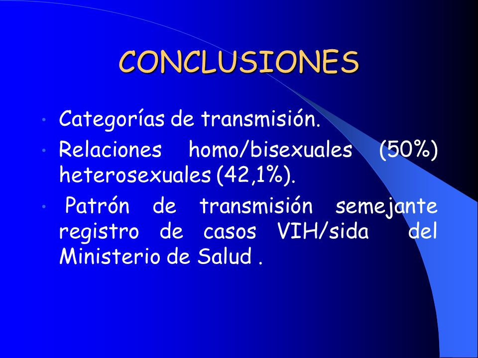 CONCLUSIONES Categorías de transmisión.