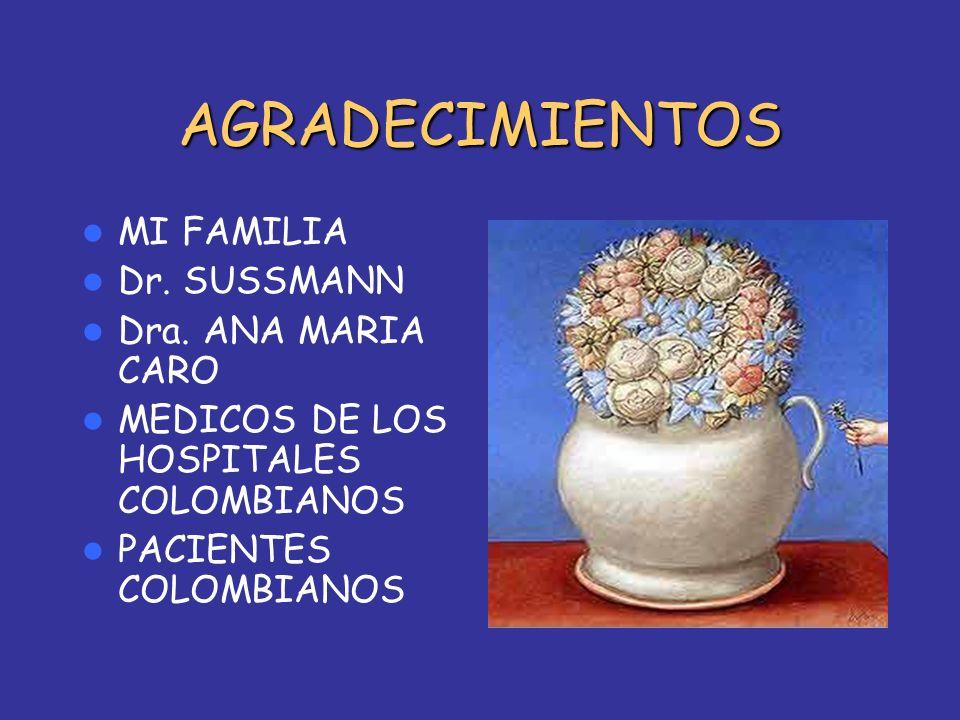 AGRADECIMIENTOS MI FAMILIA Dr. SUSSMANN Dra. ANA MARIA CARO