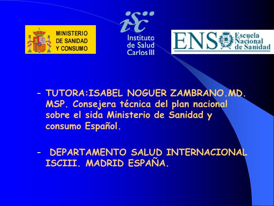 TUTORA:ISABEL NOGUER ZAMBRANO. MD. MSP
