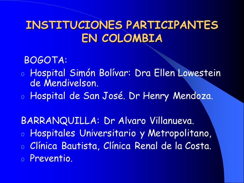 INSTITUCIONES PARTICIPANTES EN COLOMBIA