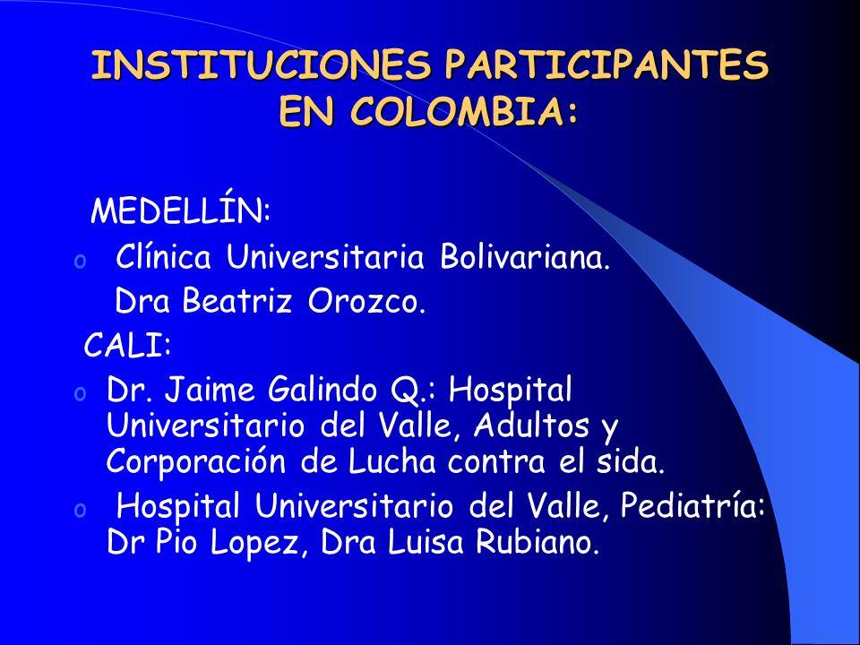 INSTITUCIONES PARTICIPANTES EN COLOMBIA: