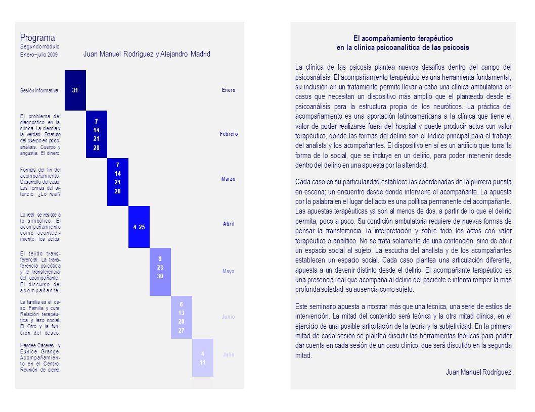 Programa Segundo módulo. Enero–julio 2009 Juan Manuel Rodríguez y Alejandro Madrid.