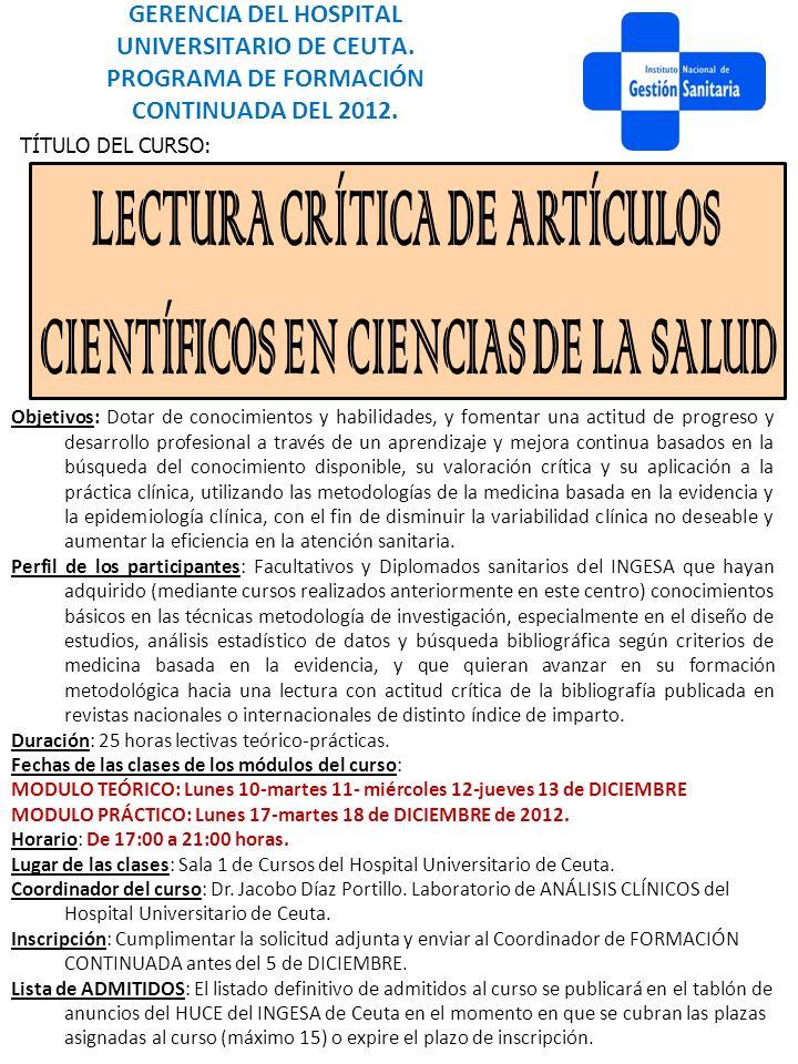 LECTURA CRÍTICA DE ARTÍCULOS CIENTÍFICOS EN CIENCIAS DE LA SALUD