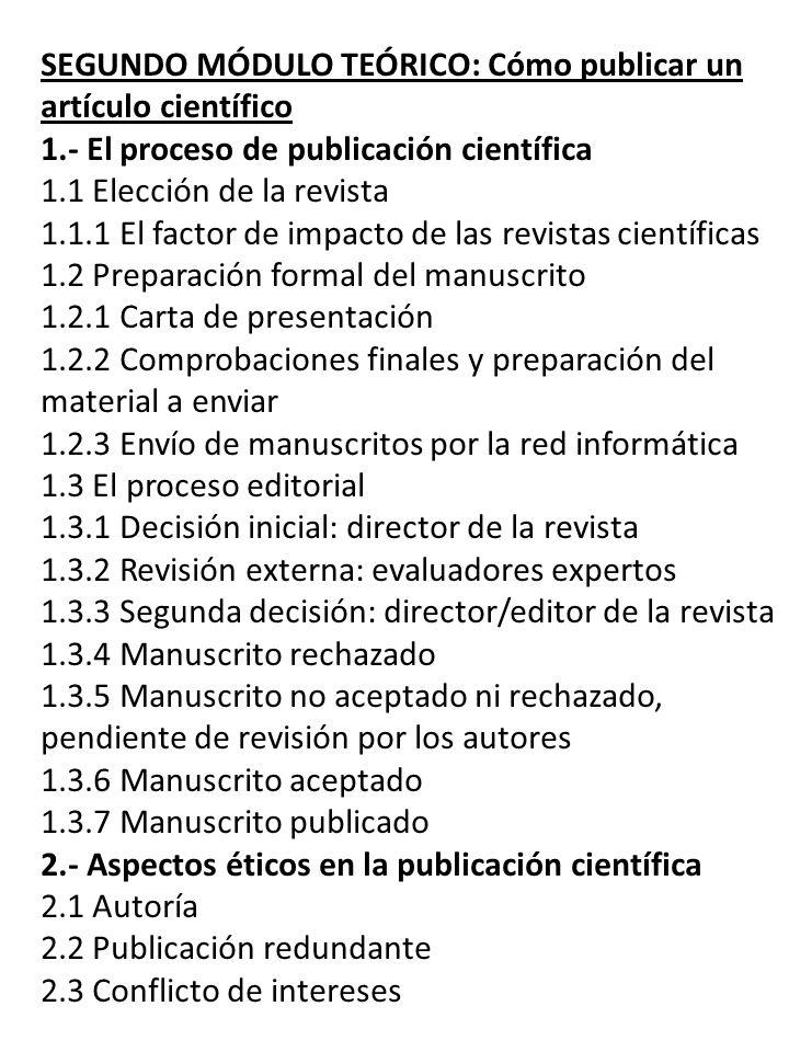 SEGUNDO MÓDULO TEÓRICO: Cómo publicar un artículo científico