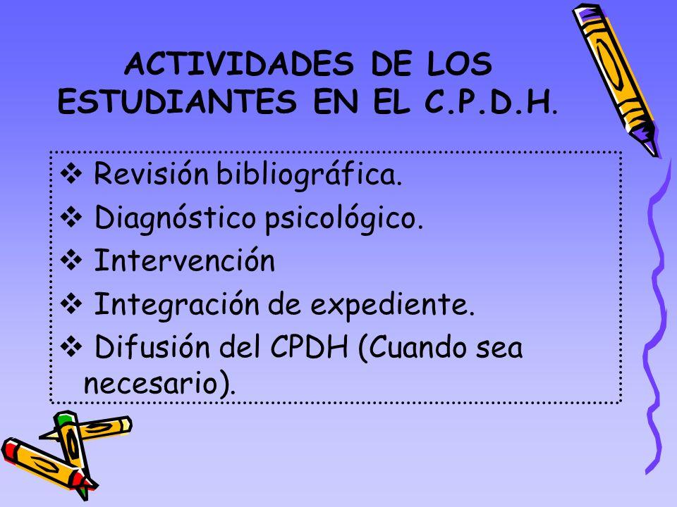 ACTIVIDADES DE LOS ESTUDIANTES EN EL C.P.D.H.