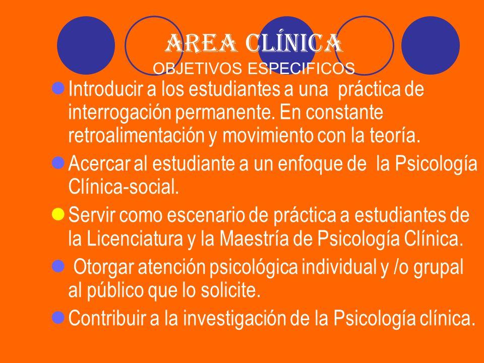 AREA CLÍNICA OBJETIVOS ESPECIFICOS