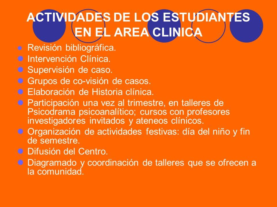 ACTIVIDADES DE LOS ESTUDIANTES EN EL AREA CLINICA
