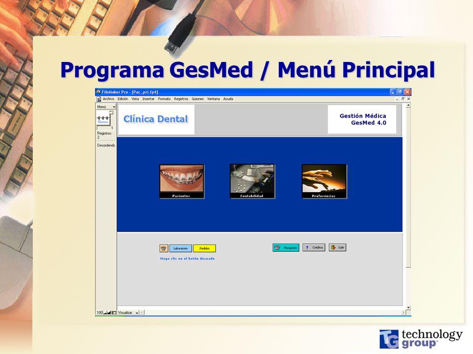 Programa GesMed / Menú Principal
