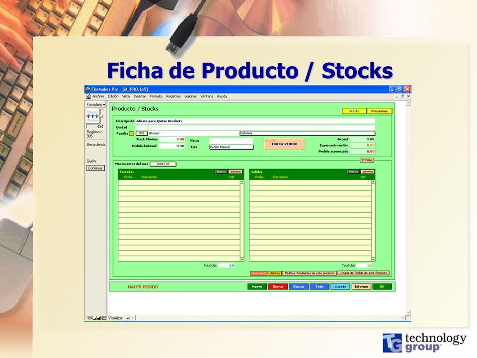 Ficha de Producto / Stocks