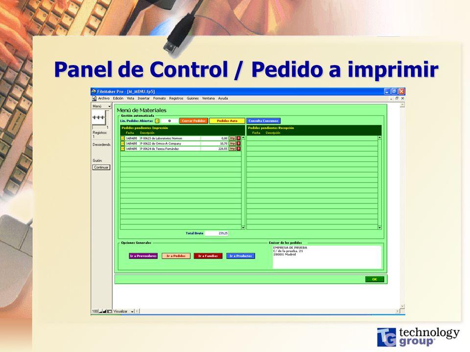 Panel de Control / Pedido a imprimir