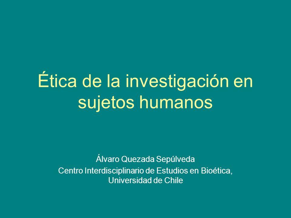 Ética de la investigación en sujetos humanos