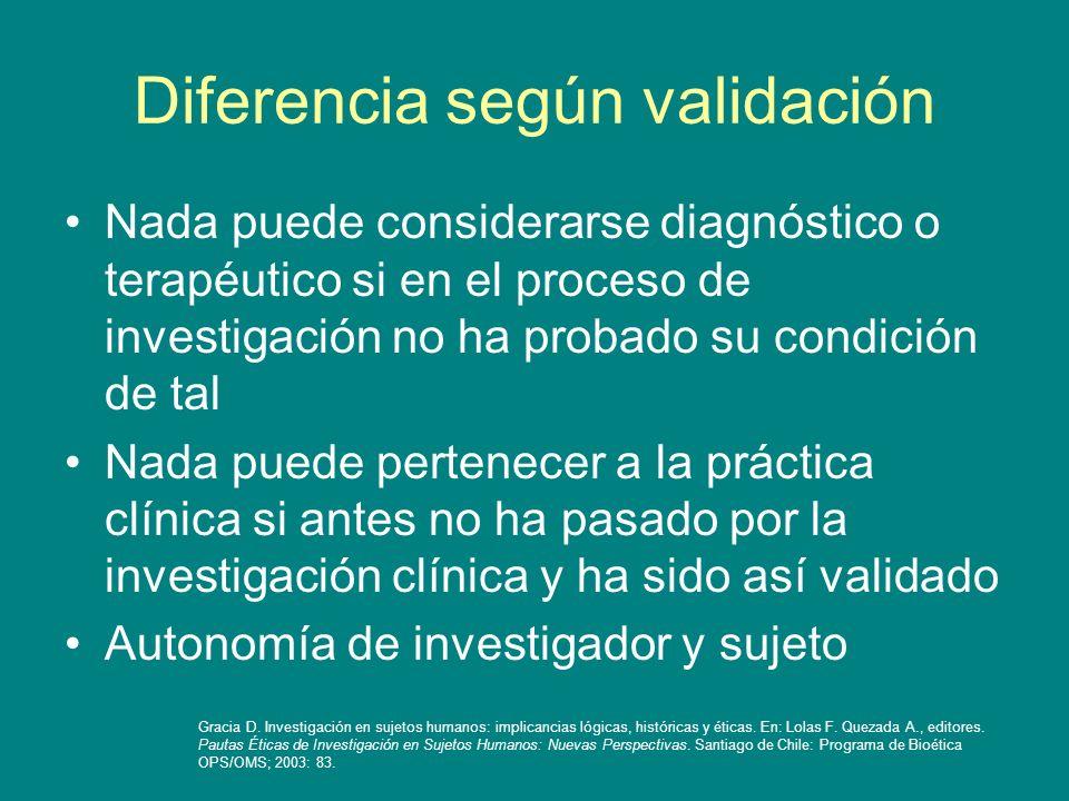 Diferencia según validación