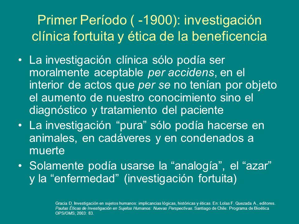 Primer Período ( -1900): investigación clínica fortuita y ética de la beneficencia
