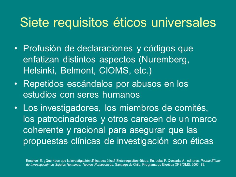 Siete requisitos éticos universales