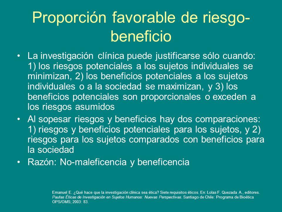 Proporción favorable de riesgo-beneficio