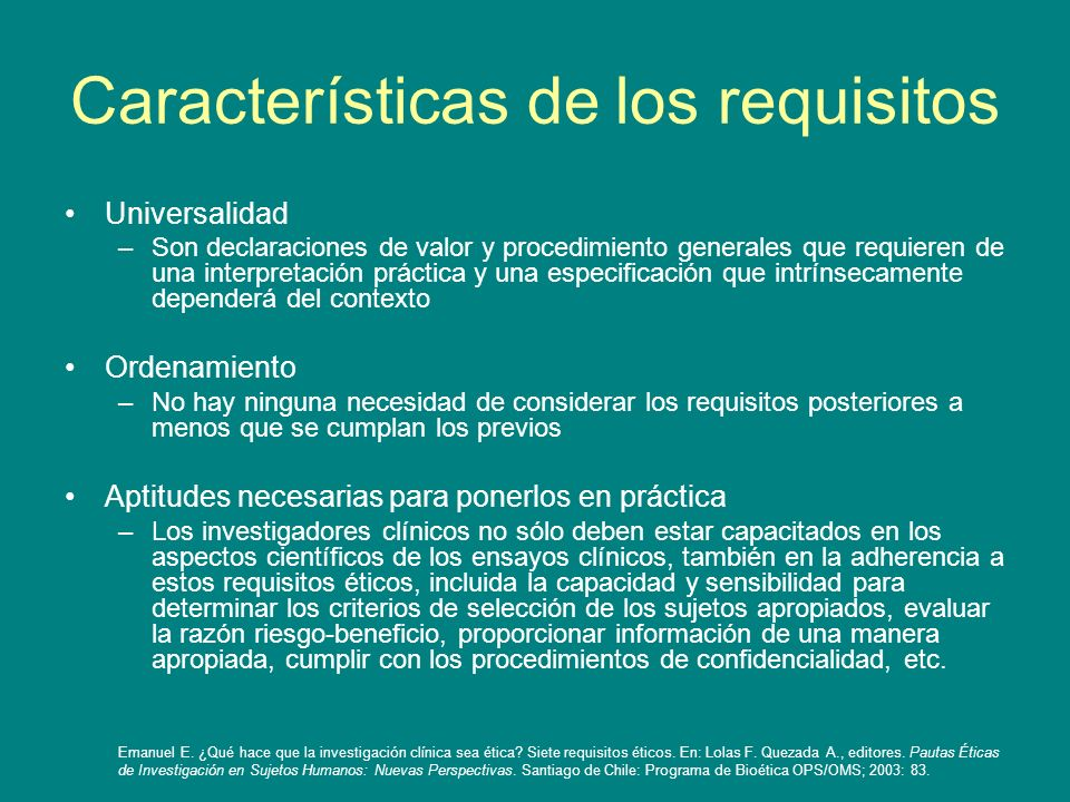 Características de los requisitos