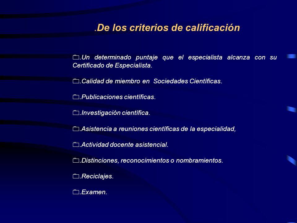 .De los criterios de calificación
