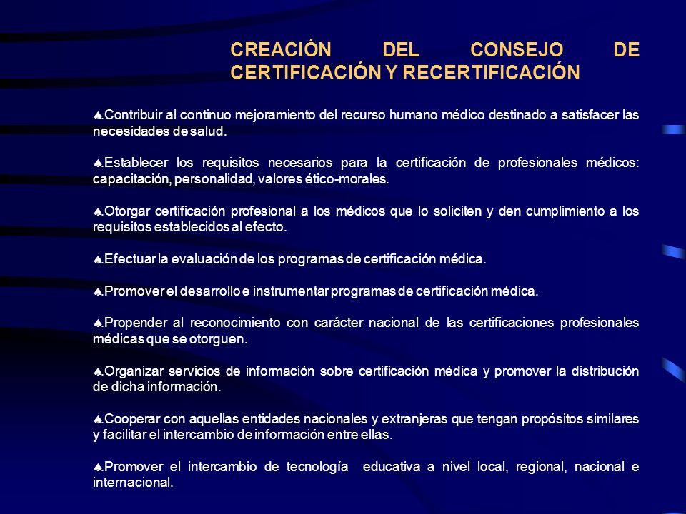 CREACIÓN DEL CONSEJO DE CERTIFICACIÓN Y RECERTIFICACIÓN