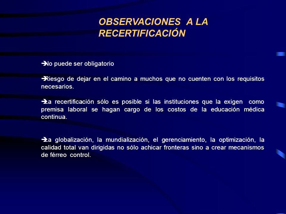 OBSERVACIONES A LA RECERTIFICACIÓN