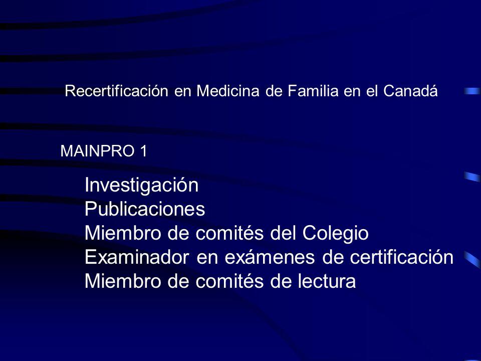 Recertificación en Medicina de Familia en el Canadá