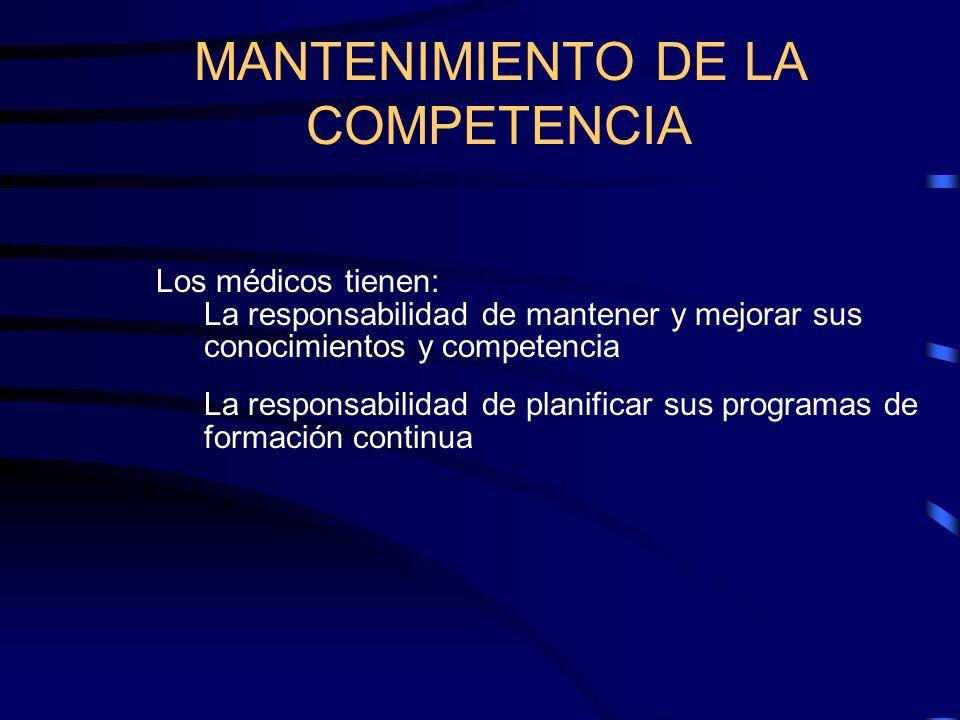 MANTENIMIENTO DE LA COMPETENCIA