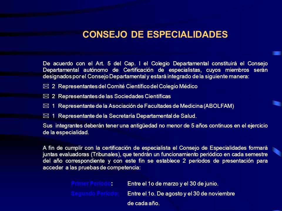 CONSEJO DE ESPECIALIDADES