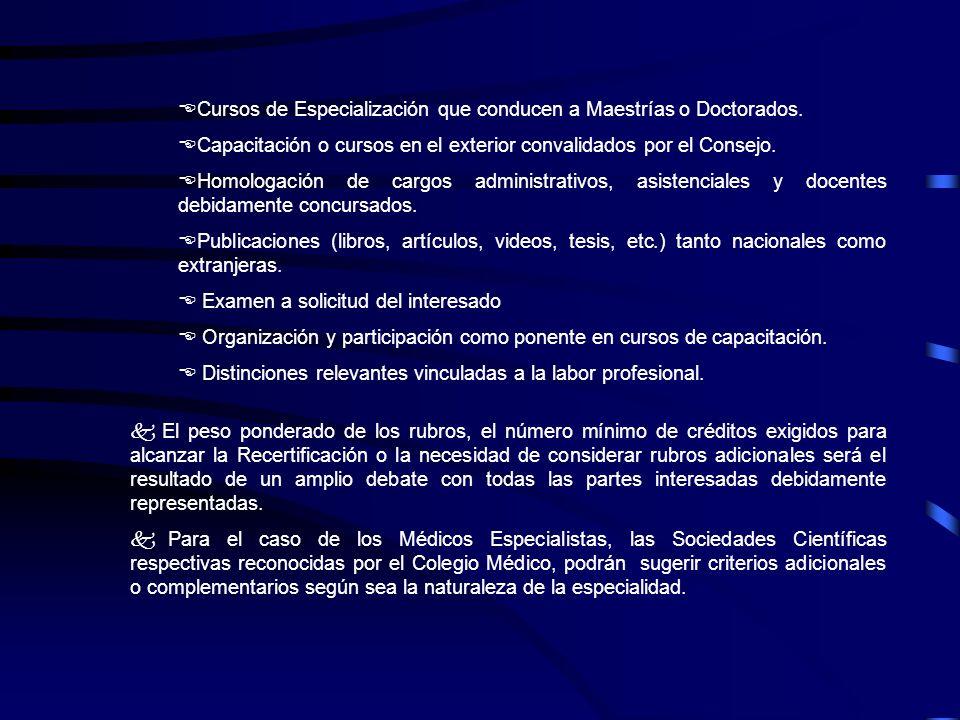 Cursos de Especialización que conducen a Maestrías o Doctorados.
