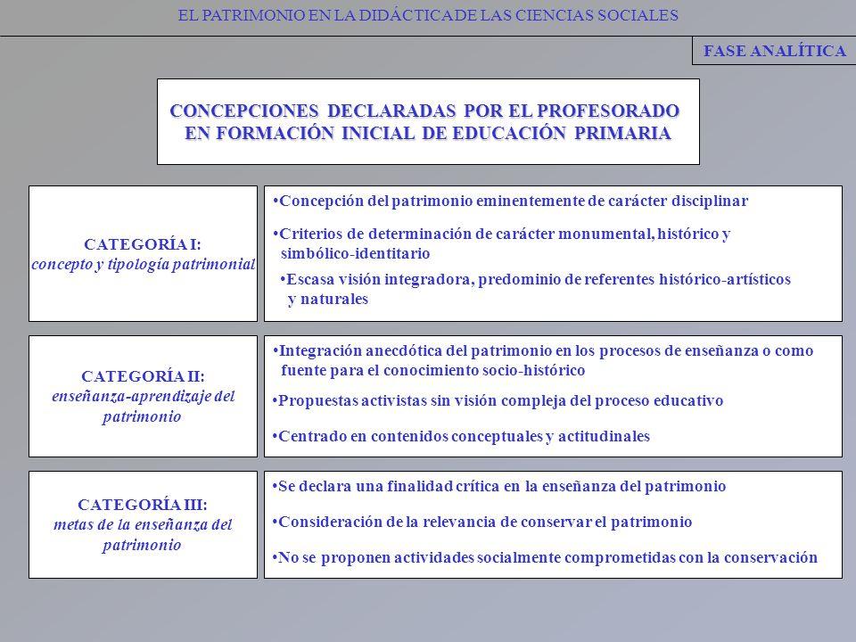 CONCEPCIONES DECLARADAS POR EL PROFESORADO