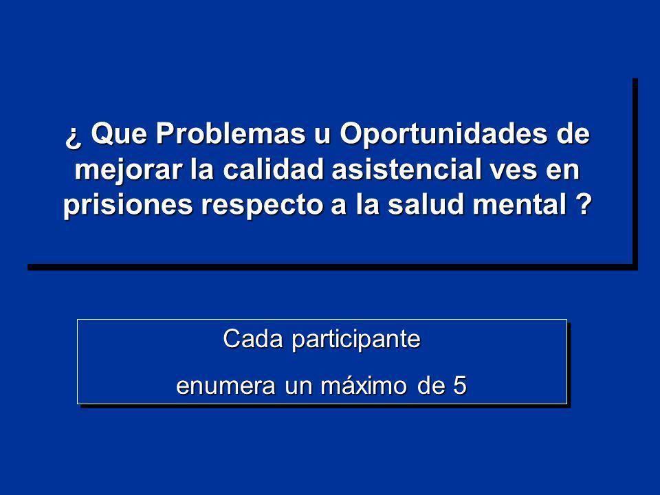 ¿ Que Problemas u Oportunidades de mejorar la calidad asistencial ves en prisiones respecto a la salud mental