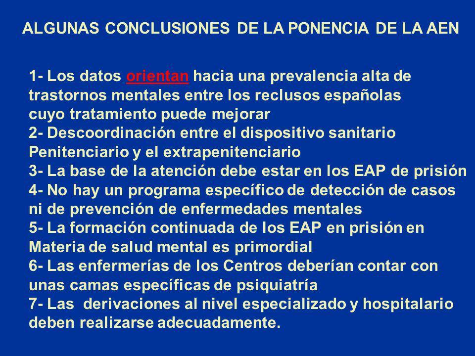 ALGUNAS CONCLUSIONES DE LA PONENCIA DE LA AEN