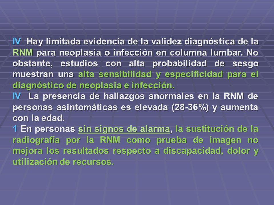 IV Hay limitada evidencia de la validez diagnóstica de la RNM para neoplasia o infección en columna lumbar. No obstante, estudios con alta probabilidad de sesgo muestran una alta sensibilidad y especificidad para el diagnóstico de neoplasia e infección.