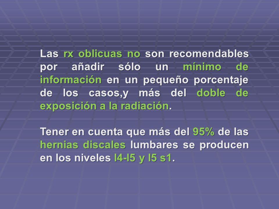 Las rx oblicuas no son recomendables por añadir sólo un mínimo de información en un pequeño porcentaje de los casos,y más del doble de exposición a la radiación.