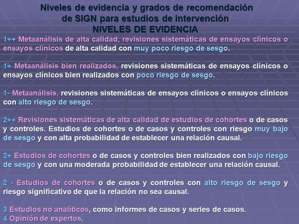 Niveles de evidencia y grados de recomendación