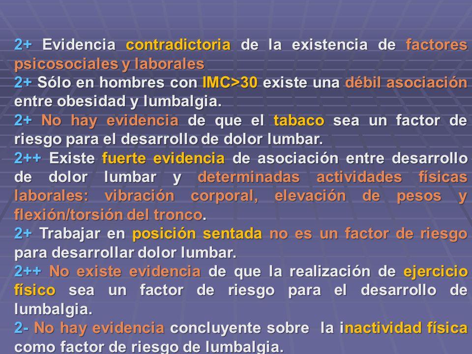 2+ Evidencia contradictoria de la existencia de factores psicosociales y laborales