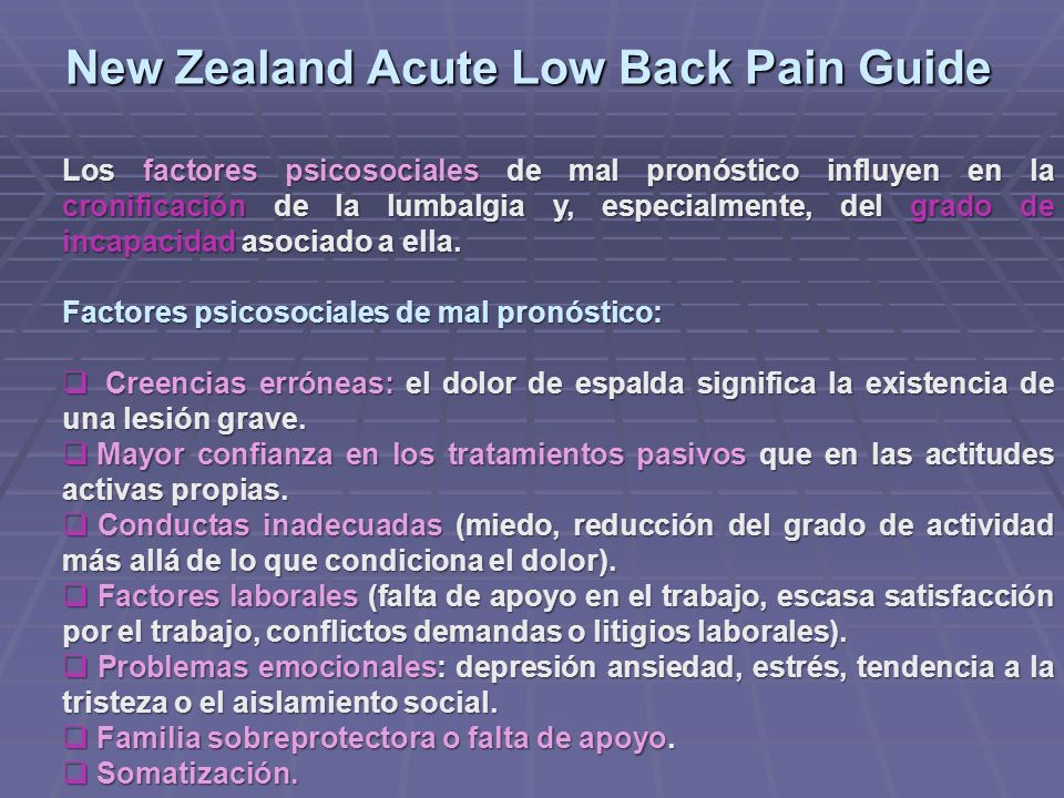 New Zealand Acute Low Back Pain Guide