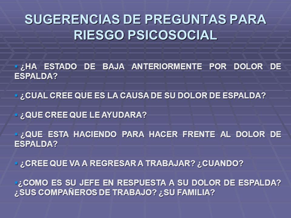 SUGERENCIAS DE PREGUNTAS PARA RIESGO PSICOSOCIAL