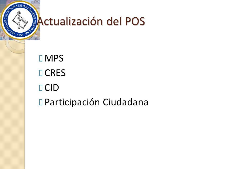 Actualización del POS MPS CRES CID Participación Ciudadana