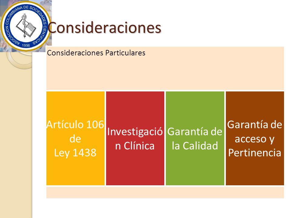 Consideraciones Artículo 106 de Ley 1438 Investigación Clínica