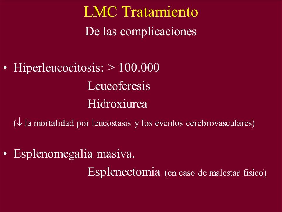 LMC Tratamiento De las complicaciones Hiperleucocitosis: > 100.000