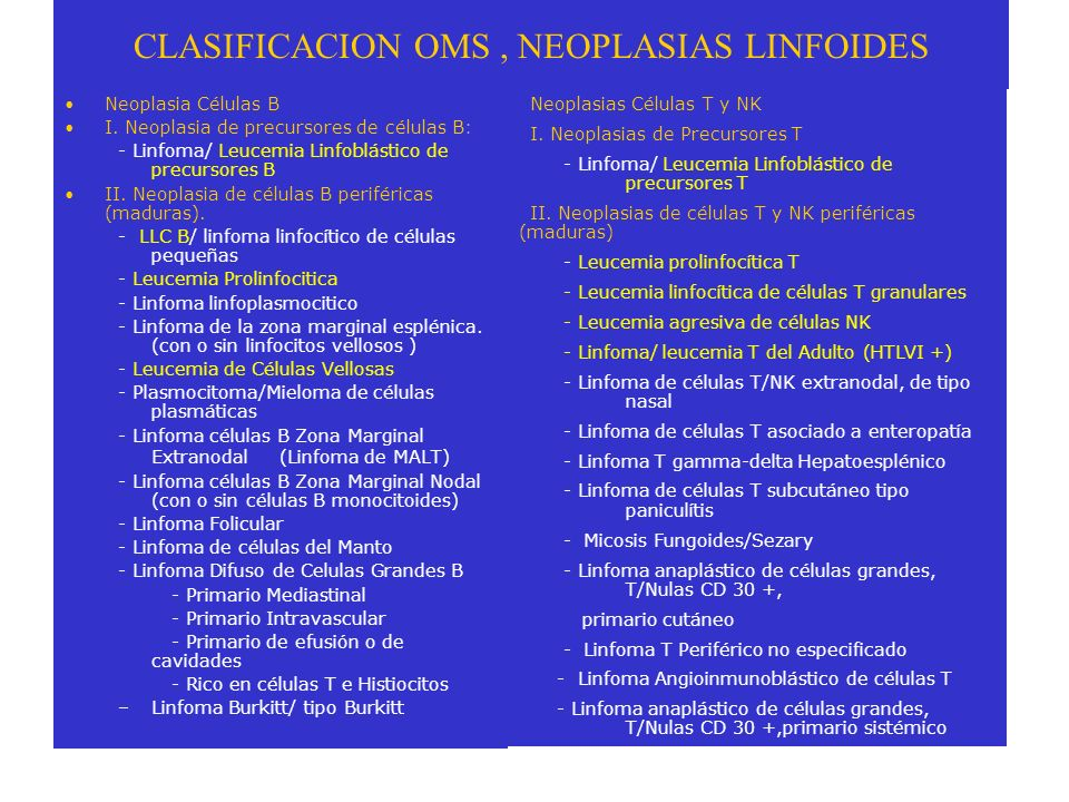 CLASIFICACION OMS , NEOPLASIAS LINFOIDES
