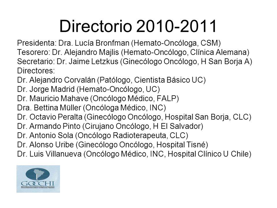 Directorio 2010-2011 Presidenta: Dra. Lucía Bronfman (Hemato-Oncóloga, CSM) Tesorero: Dr. Alejandro Majlis (Hemato-Oncólogo, Clínica Alemana)