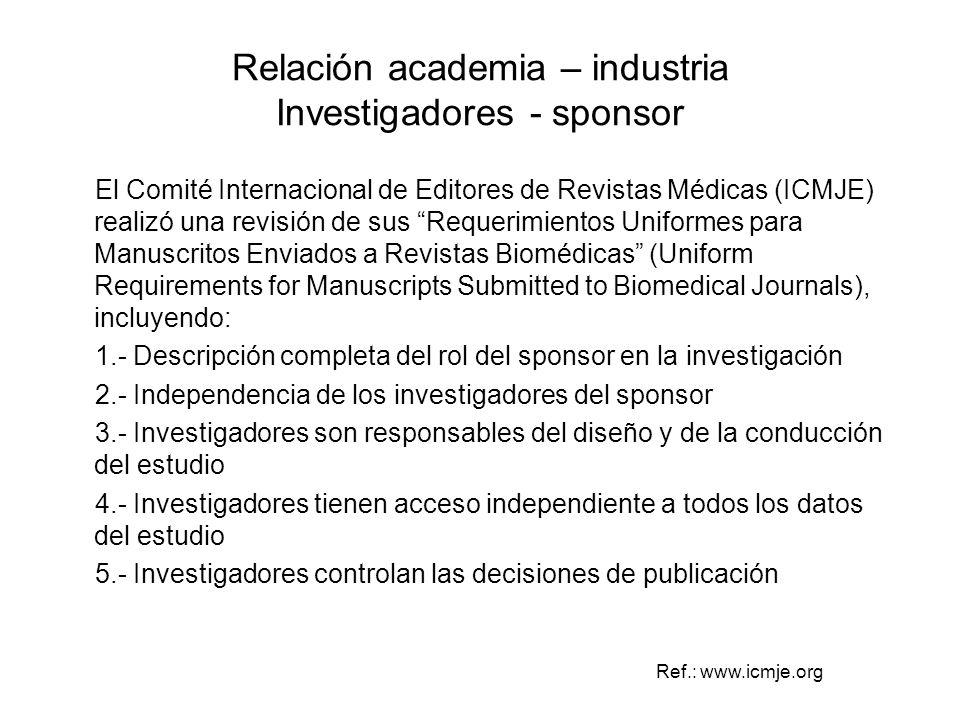 Relación academia – industria Investigadores - sponsor